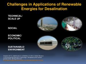 Challenges in Applications of Renewable Energies for Desalination
