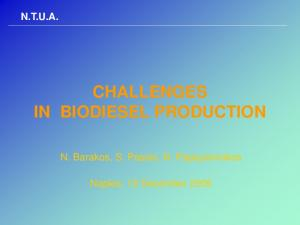 CHALLENGES IN BIODIESEL PRODUCTION