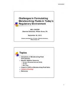 Challenges in Formulating Metalworking Fluids in Today s Regulatory Environment
