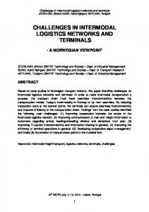 CHALLENGES IN INTERMODAL LOGISTICS NETWORKS AND TERMINALS