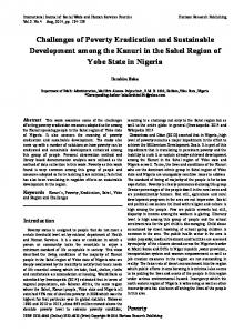 Challenges of Poverty Eradication and Sustainable Development among the Kanuri in the Sahel Region of Yobe State in Nigeria