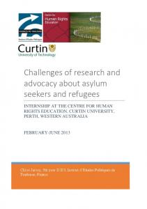 Challenges of research and advocacy about asylum seekers and refugees