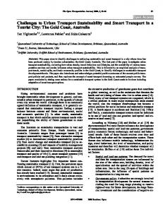 Challenges to Urban Transport Sustainability and Smart Transport in a Tourist City: The Gold Coast, Australia