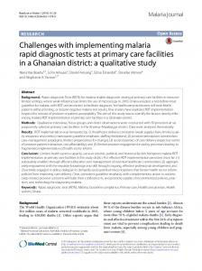 Challenges with implementing malaria rapid diagnostic tests at primary care facilities in a Ghanaian district: a qualitative study