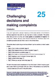 Challenging decisions and making complaints