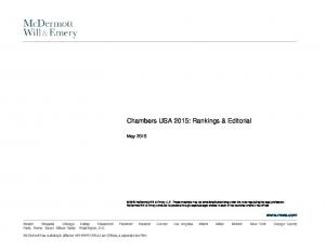 Chambers USA 2015: Rankings & Editorial