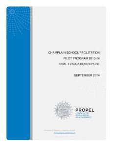 CHAMPLAIN SCHOOL FACILITATION PILOT PROGRAM FINAL EVALUATION REPORT