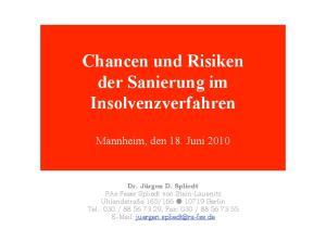 Chancen und Risiken der Sanierung im Insolvenzverfahren