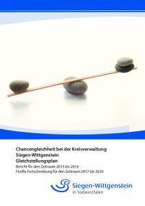 Chancengleichheit bei der Kreisverwaltung Siegen-Wittgenstein Gleichstellungsplan
