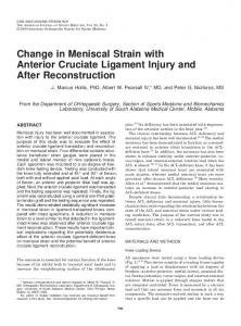 Change in Meniscal Strain with Anterior Cruciate Ligament Injury and After Reconstruction