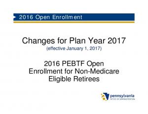 Changes for Plan Year 2017 (effective January 1, 2017)