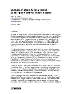 Changes in Open Access versus Subscription Journal Impact Factors