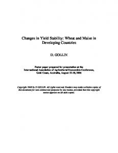 Changes in Yield Stability: Wheat and Maize in Developing Countries