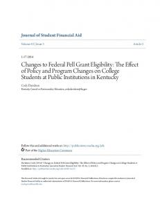Changes to Federal Pell Grant Eligibility: The Effect of Policy and Program Changes on College Students at Public Institutions in Kentucky