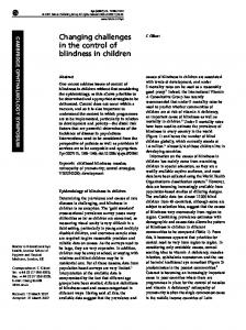 Changing challenges in the control of blindness in children