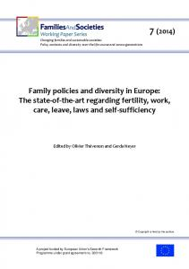 Changing families and sustainable societies: Policy contexts and diversity over the life course and across generations