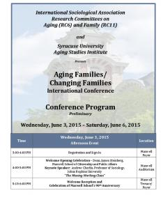 Changing Families International Conference. Conference Program Preliminary