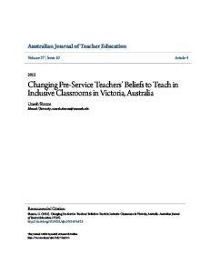 Changing Pre-Service Teachers Beliefs to Teach in Inclusive Classrooms in Victoria, Australia