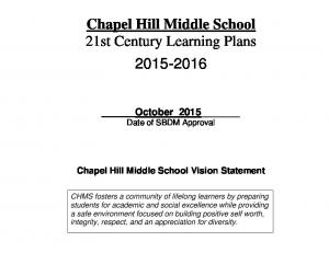 Chapel Hill Middle School 21st Century Learning Plans