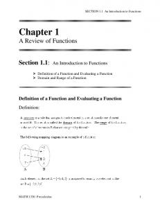 Chapter 1 A Review of Functions