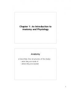 Chapter 1: An Introduction to Anatomy and Physiology. Anatomy