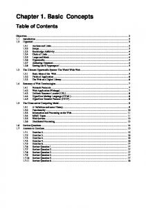 Chapter 1. Basic Concepts Table of Contents