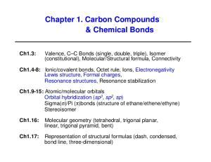 Chapter 1. Carbon Compounds & Chemical Bonds