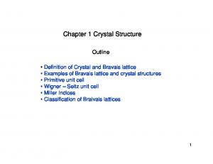Chapter 1 Crystal Structure