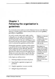 Chapter 1 Following the organisation s guidelines