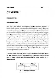 CHAPTER 1 INTRODUCTION. Chapter 1: Introduction Page Definition of Sensors