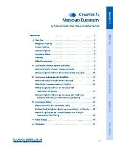 CHAPTER 1: MEDICAID ELIGIBILITY