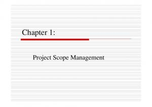 Chapter 1: Project Scope Management