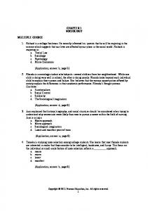 CHAPTER 1 SOCIOLOGY MULTIPLE CHOICE
