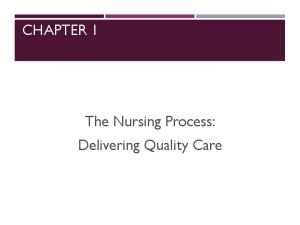 CHAPTER 1. The Nursing Process: Delivering Quality Care