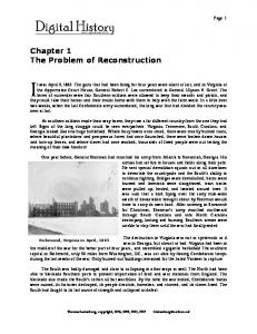 Chapter 1 The Problem of Reconstruction