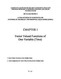 CHAPTER 1. Vector Valued Functions of One-Variable (Time)