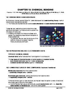 CHAPTER 10: CHEMICAL BONDING