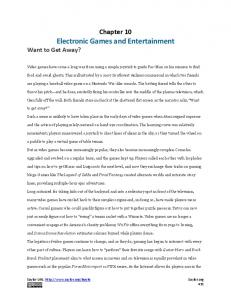 Chapter 10 Electronic Games and Entertainment Want to Get Away?