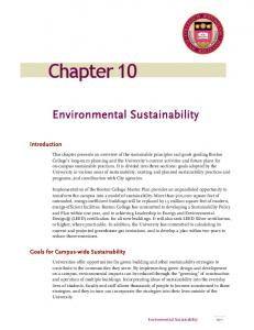 Chapter 10. Environmental Sustainability. Introduction. Goals for Campus-wide Sustainability