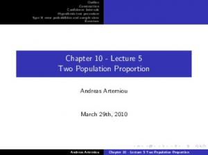 Chapter 10 - Lecture 5 Two Population Proportion