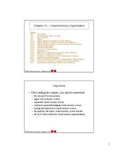 Chapter 10 Virtual Memory Organization