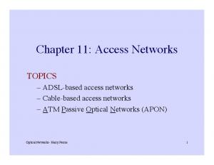 Chapter 11: Access Networks