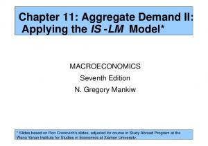 Chapter 11: Aggregate Demand II: Applying the IS -LM Model*