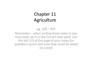 Chapter 11 Agriculture