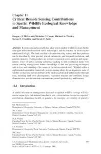 Chapter 11 Critical Remote Sensing Contributions to Spatial Wildlife Ecological Knowledge and Management