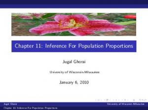 Chapter 11: Inference For Population Proportions