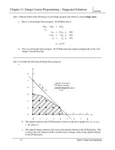 Chapter 11: Integer Linear Programming Suggested Solutions