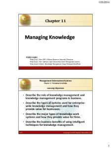 Chapter 11. Managing Knowledge