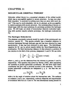 CHAPTER 11 MOLECULAR ORBITAL THEORY