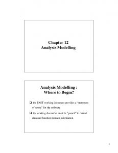 Chapter 12 Analysis Modelling. Analysis Modelling : Where to Begin?